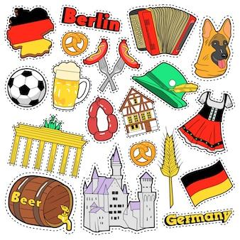 Adesivos de álbum de recortes de viagens alemanha, patches, emblemas para impressões com salsicha, bandeira, arquitetura e elementos alemães. doodle de estilo cômico