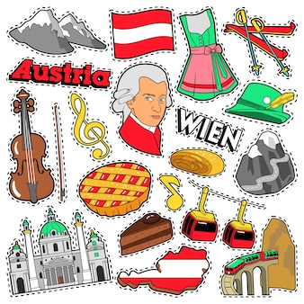 Adesivos de álbum de recortes de viagens áustria, patches, emblemas para impressões com alpes, bolo e elementos austríacos. doodle de estilo cômico