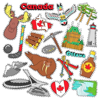 Adesivos de álbum de recortes de viagens canadá, adesivos, emblemas para impressões com xarope de bordo, cataratas do niágara e elementos canadenses. doodle de estilo cômico