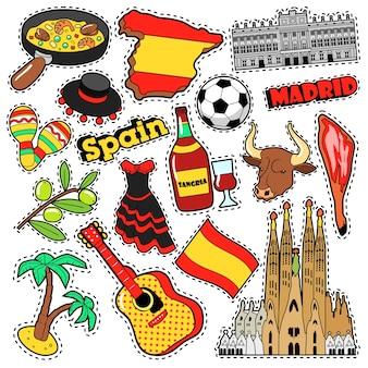 Adesivos de álbum de recortes de viagens de espanha, adesivos, emblemas para impressões com jamon, sangria e elementos espanhóis. doodle de estilo cômico