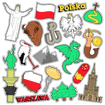 Adesivos de álbum de recortes de viagens de polônia, patches, emblemas para impressões com syrenka, eagle e elementos poloneses. doodle de estilo cômico