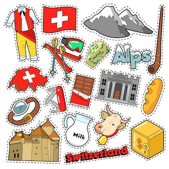 Adesivos de álbum de recortes de viagens suíça, patches, emblemas para impressões com alpes, dinheiro e elementos suíços. doodle de estilo cômico