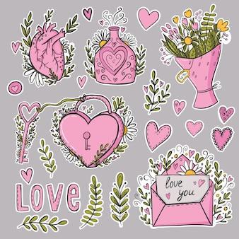 Adesivos de amor, elementos de design de doodles