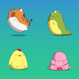 Adesivos de animais. animal bonito, adesivo de emoji engraçado kawaii ou avatar.