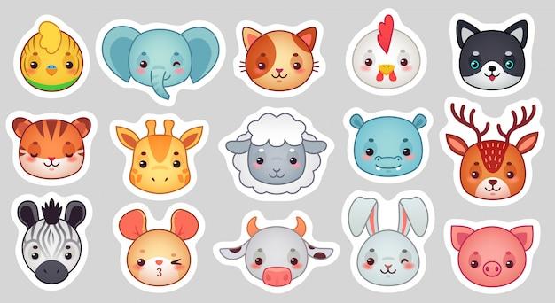 Adesivos de animais fofos, rostos de animais adoráveis a sorrir, ovelhas kawaii e conjunto de desenhos animados de galinha engraçada