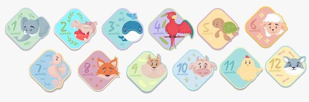 Adesivos de bebê mensais de 1 a 12 meses com animais fofos