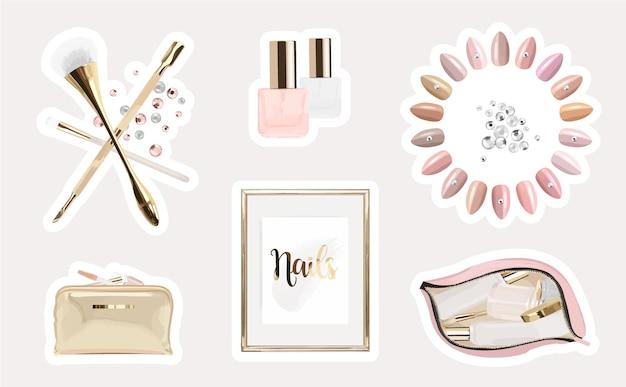 Adesivos de beleza feminina com um conjunto de ferramentas de manicure e esmalte
