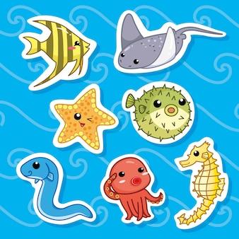 Adesivos de coleção de animais fofos