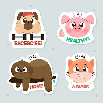 Adesivos de conceito de coronavirus com animais fofos