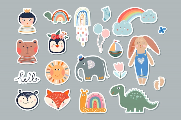 Adesivos de crianças conjunto com diferentes elementos bonitos