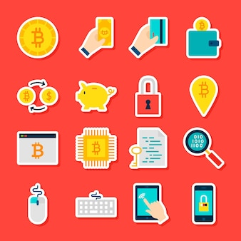 Adesivos de criptomoeda bitcoin. estilo simples de ilustração vetorial. coleção de símbolos financeiros.