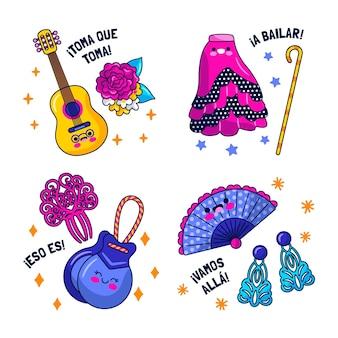 Adesivos de dança flamenca kawaii