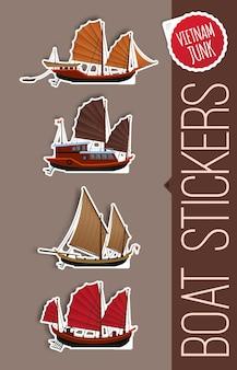Adesivos de designs de barcos de sucata
