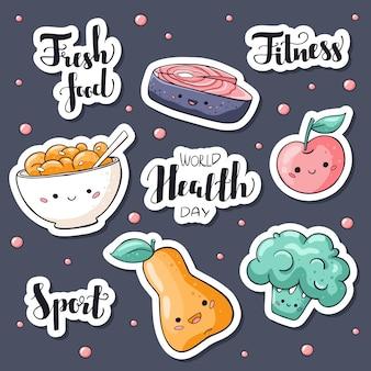 Adesivos de dia de saúde do mundo embalar com alimentos frescos e letras