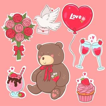 Adesivos de dia dos namorados em cores rosa