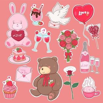 Adesivos de dia dos namorados em cores rosa.