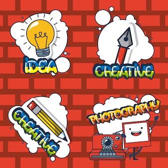 Adesivos de elementos criativos