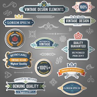 Adesivos de elementos de design vintage
