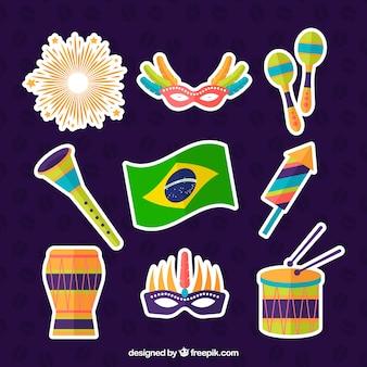 Adesivos de elementos do carnaval brasileiro