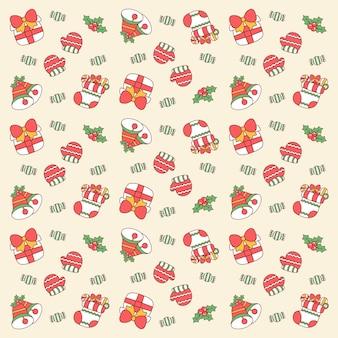 Adesivos de elementos fofos de feliz natal desenhando um fundo padrão para embrulho de presentes
