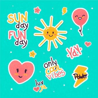 Adesivos de emoji e palavras