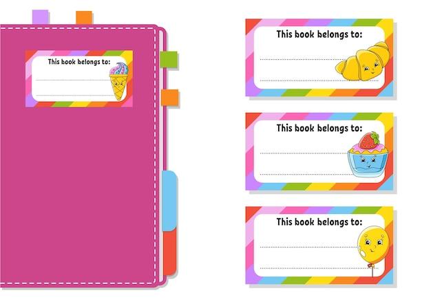 Adesivos de etiqueta de livro para crianças a forma retangular