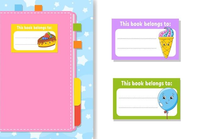 Adesivos de etiqueta de livro para crianças