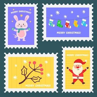 Adesivos de férias de selo de natal à mão conjunto de selos postais de design desenhado de carimbos de natal