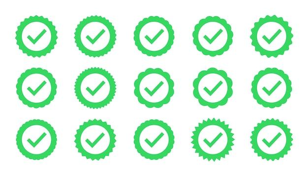 Adesivos de forma plana de estrela. sinal de verificação do perfil. emblemas de vetor de garantia, aprovação, aceitação e qualidade. marca de seleção do vetor plana.
