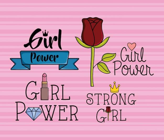 Adesivos de garota de poder estilo pop art