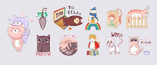 Adesivos de gatos engraçados kawaii. imprima em camisetas, moletons, estojos para celulares, lembranças, elementos de scrapbooking. ilustração