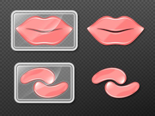 Adesivos de gel para lábios e olhos