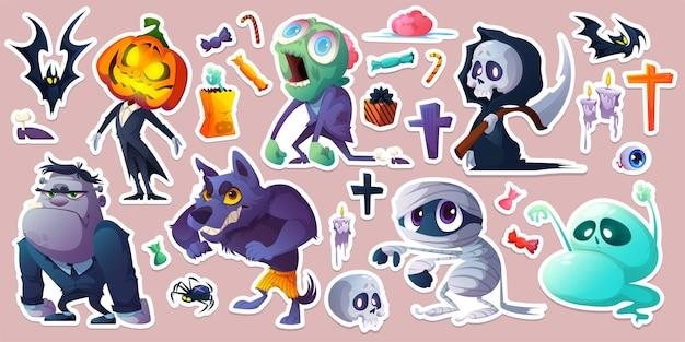 Adesivos de halloween com doces de morcegos de monstros
