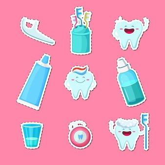 Adesivos de higiene de dentes dos desenhos animados isolados