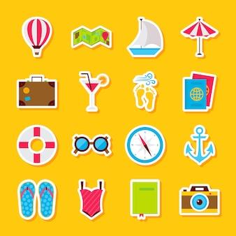 Adesivos de horário de verão. estilo simples de ilustração vetorial. coleção de símbolos de férias sazonais.
