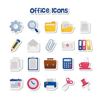 Adesivos de ícone de escritório bonito dos desenhos animados