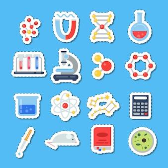 Adesivos de ícones de ciência com conjunto de sombras