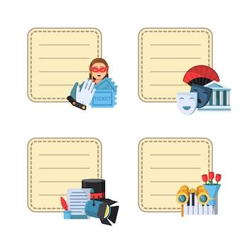 Adesivos de ícones de teatro plana com lugar para textos de notas
