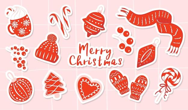 Adesivos de inverno e natal em vermelho coleção de clipart