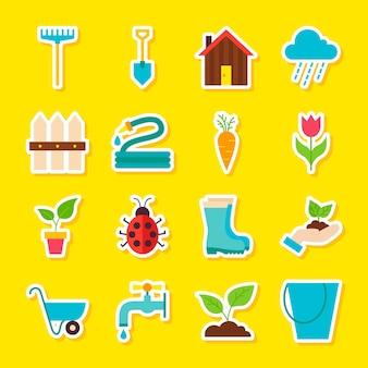 Adesivos de jardinagem da primavera. estilo simples de ilustração vetorial. coleção de símbolos sazonais da natureza.