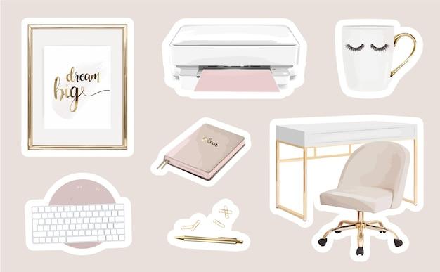 Adesivos de local de trabalho modernos com decoração feminina de home office