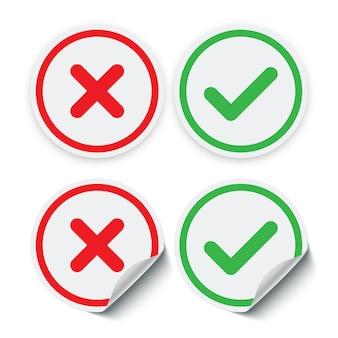 Adesivos de marca de seleção vermelha e verde