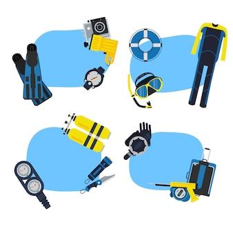 Adesivos de mergulho subaquático com lugar para conjunto de texto