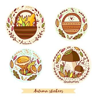 Adesivos de outono com cesta