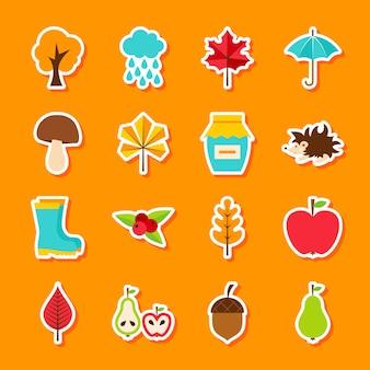 Adesivos de outono. estilo simples de ilustração vetorial. conjunto de símbolos sazonais de outono.