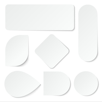 Adesivos de papel branco. etiquetas em branco, etiquetas em forma retangular e redonda.