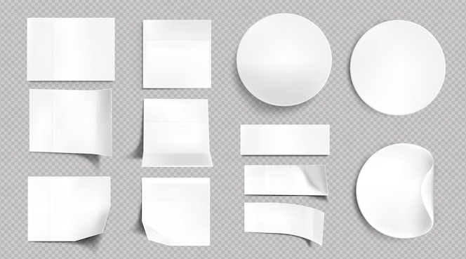 Adesivos de papel branco, quadrados em branco, notas adesivas redondas e retangulares. conjunto realista de vetor de etiquetas vazias com cantos dobrados e dobrados, etiquetas adesivas isoladas em fundo transparente