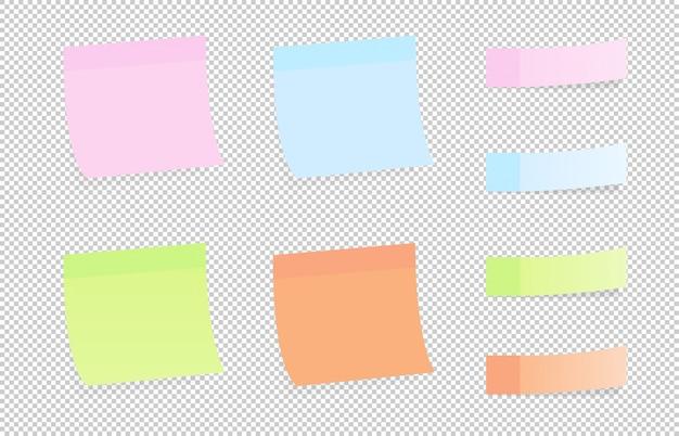 Adesivos de papel colorido conjunto com desenhos diferentes em um fundo transparente. notas auto-adesivas sombreadas em um fundo transparente.