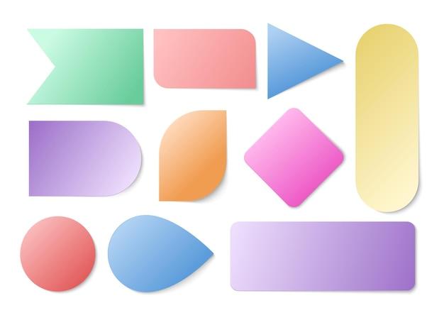 Adesivos de papel colorido.