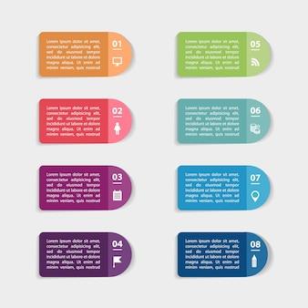 Adesivos de papel e etiquetas com sombras realistas para conjunto de infográfico Vetor Premium